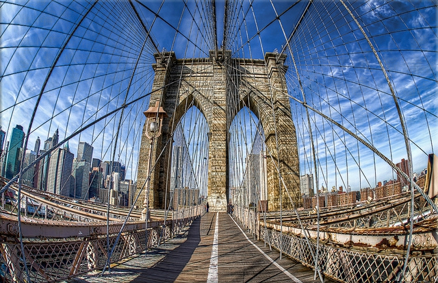 brooklyn bridge new york fisheye