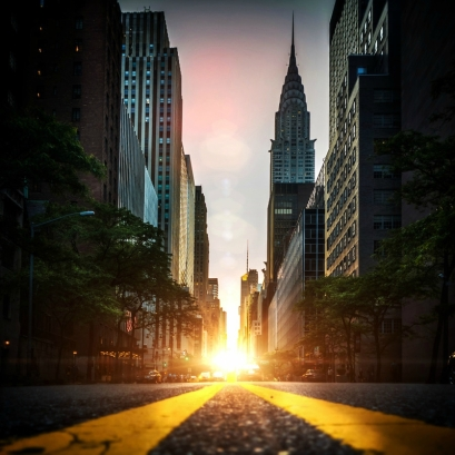 manhattanhenge coucher soleil new york