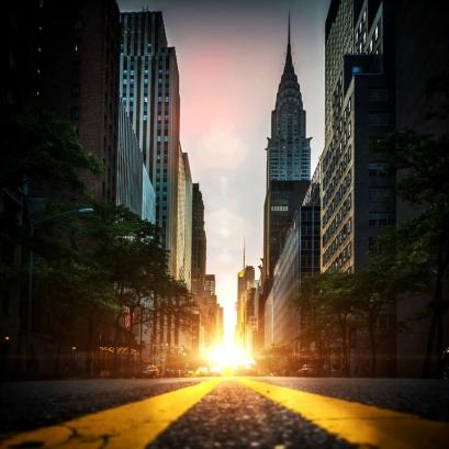 manhattanhenge coucher soleil new york